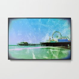 Blue Santa Monica Pier Metal Print