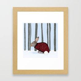 Rabbit Wintery Holiday Design Framed Art Print