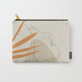 Minimal Line Art Woman And Palm Leaves #Society6 #Buyart Carry-All Pouch
