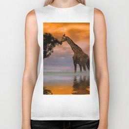 Giraffe at Sunset Biker Tank