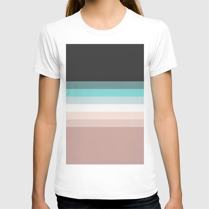 Charcoal, blue and pink pastel blend T-shirt