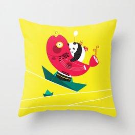 Quiet Boat Throw Pillow