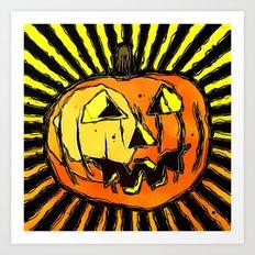 Scary Halloween Pumpkin Art Print