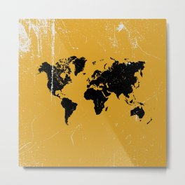 Grunge world map Metal Print