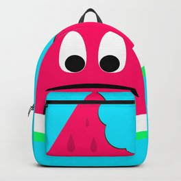 Cute sad bitten piece of watermelon Backpack