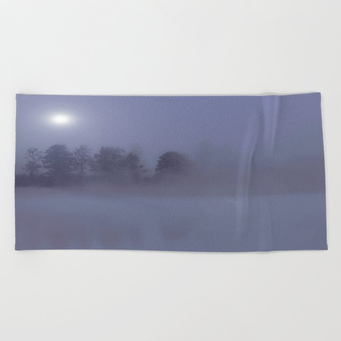 Silent Night in Foggy Atmosphere #decor #society6 Beach Towel