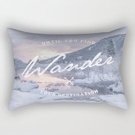 Wanderlust snow landscape winter sunset typography Rectangular Pillow
