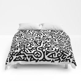 Bold Black Marker Doodle Line Comforters