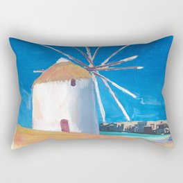 Mykonos Greece Windmill, Sea and Little Venice Rectangular Pillow