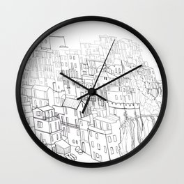City drawing italian coloring page style Wall Clock