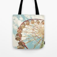 ferris wheel Tote Bags featuring ferris wheel by Sylvia Cook Photography