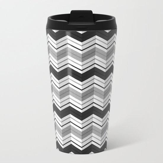 CHEVRON STRIPES - BLACK Metal Travel Mug