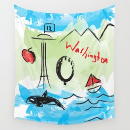 City scape - Seattle, Washington Wall Tapestry
