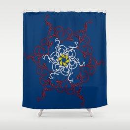 Mandala, Dark Teal, Red, White, Yellow Shower Curtain