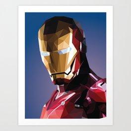 Iron-Man low poly drawing Art Print