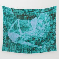 shoe Wall Tapestries featuring Cinder's shoe in blue by Wendy Townrow