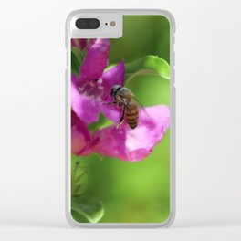 Bee on Royal Purple Texas Ranger Flower Clear iPhone Case