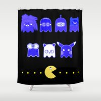 pacman Shower Curtains featuring pacman inspired by Martha Calderon