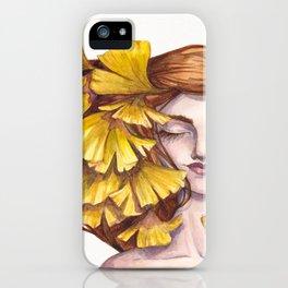Unfold Watercolor Gingko Leaf Illustration iPhone Case