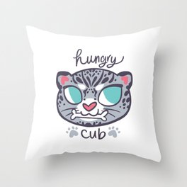 Baby Big Cats Snow Leopard Hungry Cub Throw Pillow