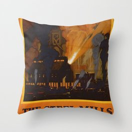 The Steel Mills Vintage Travel Poster Throw Pillow
