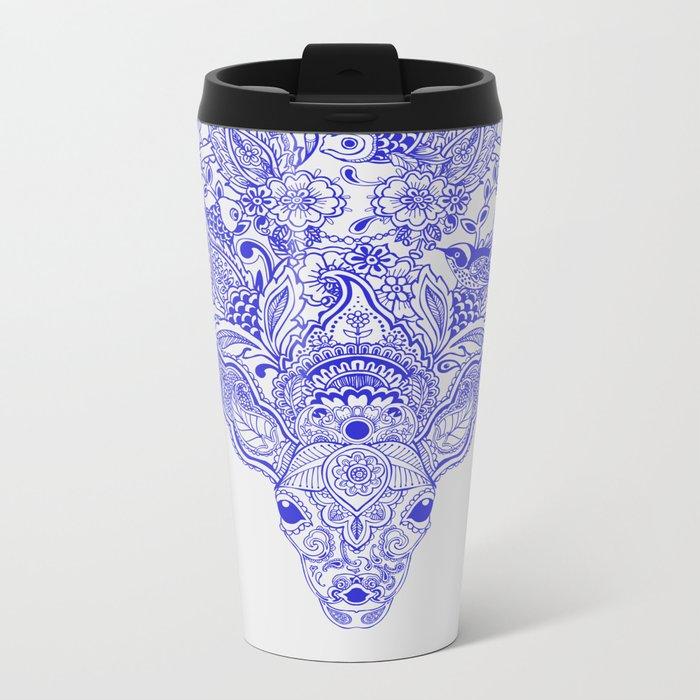 Little Blue Deer Metal Travel Mug