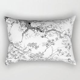 Plum Blossoms Black Rectangular Pillow