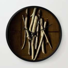 DRIFTWOOD ON WOOD GRID Wall Clock