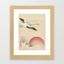 Crane and Red Moon Japanese Print Framed Art Print