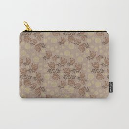 Grey Flowers Carry-All Pouch