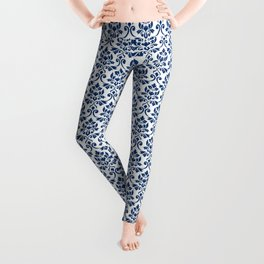 Feuille Damask Pattern Dark Blue on White Leggings
