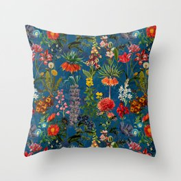 Vintage & Shabby Chic - Blue Midnight Spring Botancial Flower Garden Throw Pillow