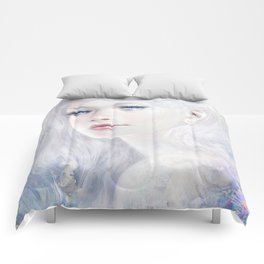 Ethereal - White as ice beatiful girl portrait Comforters