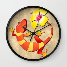 Orange and Yellow Jungle Lizard with Yellow Hibiscus/BACKGROUND Wall Clock