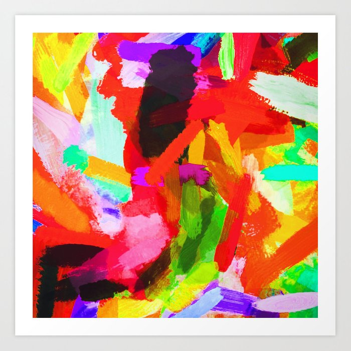 Red Orange Blue Green Purple Painting Texture Abstract Background Art Print By Timla