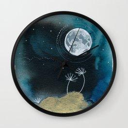 Moon Series #11 Watercolor + Ink Painting Wall Clock