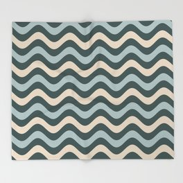 Blue Willow Green & Alpaca Wool Cream Wavy Horizontal Stripes on Night Watch Green Throw Blanket
