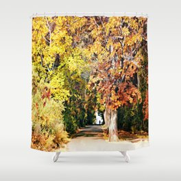 Walk Alone - Pathway Through The Trees Shower Curtain