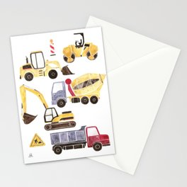Construction Machines Stationery Cards