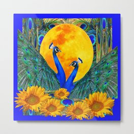 BLUE PEACOCKS MOON & FLOWERS FANTASY ART Metal Print