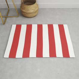 Madder Lake - solid color - white stripes pattern Rug
