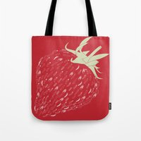 strawberry Tote Bags featuring Strawberry by Julia Kisselmann