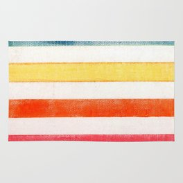 Rainbow stripes on canvas Rug