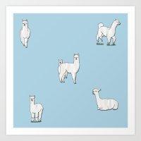 alpaca Art Prints featuring Alpaca by okayleigh