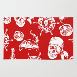 Red Pirate Pattern Rug