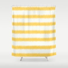 Ikat Stripe Yellow Shower Curtain
