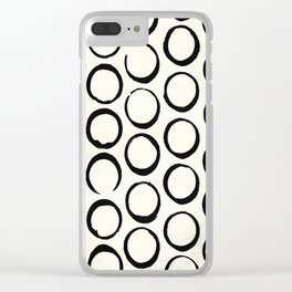 Polka Dots Circles Tribal Black and White Clear iPhone Case