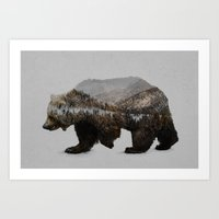 trees Art Prints featuring The Kodiak Brown Bear by Davies Babies
