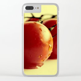Tomatoes on the bush on yellow background Clear iPhone Case