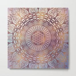 Flower of life in mandala - gentle glitter on pastel Metal Print
